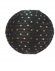 Lanterna in carta nera con pois dorati