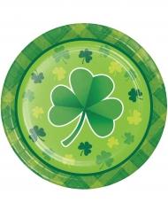 8 piattini in cartone verde San Patrizio 18 cm