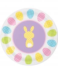 8 piattini in cartone con coniglietti 18 cm