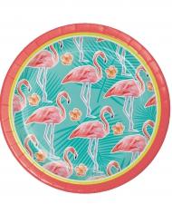 8 piattini in cartone fenicotteri a righe 18 cm