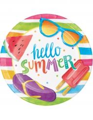 8 piattini in cartone Hello Summer 18 cm