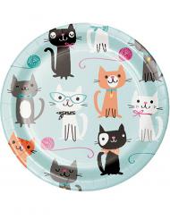 8 piattini in cartone gattino vintage 18 cm