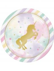 8 piatti in cartone unicorno pastello 23 cm