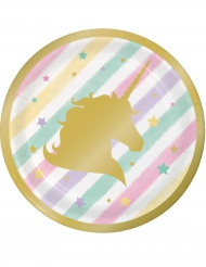8 piattini a righe pastello unicorno 18 cm