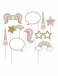 Kit 10 accessori photobooth unicorno arcobaleno