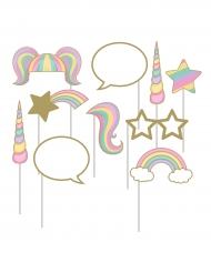 Kit 10 accessori photobooth unicorno arcobaleno