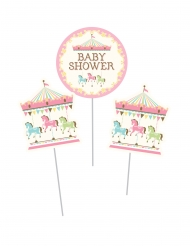 3 decorazioni su asta Giostra Baby Shower