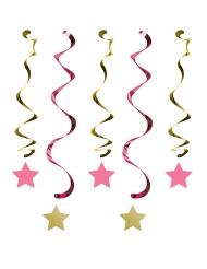 5 sospensioni a spirale rosa e oro Little Star