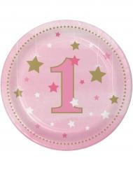 8 piattini Little Star 1 anno rosa 18 cm