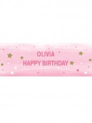 Banner da personalizzare Little Star rosa