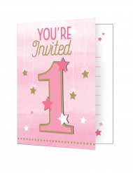 8 inviti di compleanno 1 anno Little Star rosa