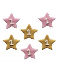 6 stelle di zucchero oro e rosa con numero 1
