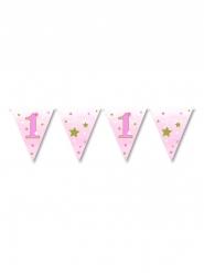 Ghirlanda bandierine 1 anno Little Stars rosa