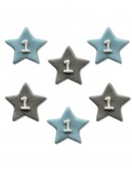 6 decorazioni in zucchero stelle blu 1 anno
