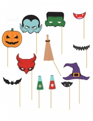 Kit photobooth 12 accessori Halloween
