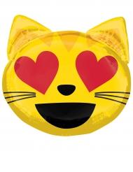 Palloncino in alluminio emoticon gatto con occhi a cuore