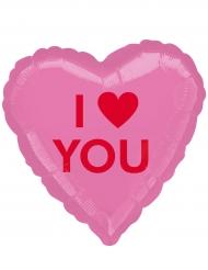 Palloncino alluminio cuore rosa I Love You