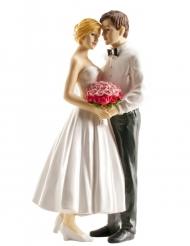 Statuina coppia di sposi con bouquet rosa