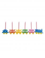 Decorazione per torte trenino colorato con candeline