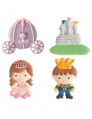 4 decorazioni di zucchero principe e principessa