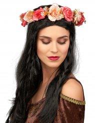 Corona di rose e fiori bianchi per adulto