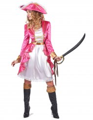 Costume da pirata barocco in rosa per donna