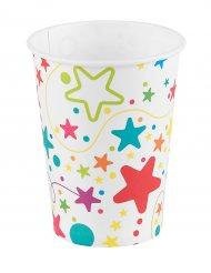 6 bicchieri in cartone stelle e pois colorati