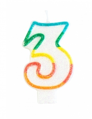 Candelina colorata con brillantini numero 3
