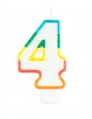 Candelina colorata con brillantini numero 4