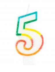 Candelina colorata con brillantini numero 5