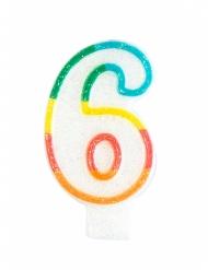 Candelina colorata con brillantini numero 6