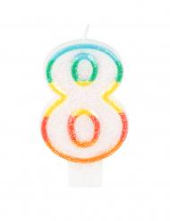 Candelina colorata con brillantini numero 8