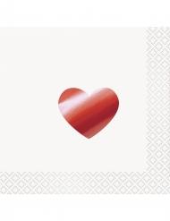 16 tovaglioli di carta con cuore metallizzato