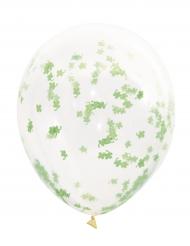 5 palloncini trasparenti con coriandoli trifogli verdi