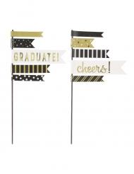 2 decorazioni per torte laurea nero e oro