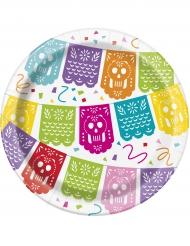 8 piattini in cartone festa messicana 18 cm