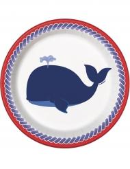 8 piattini in cartone con balena 18 cm