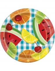 8 piattini di cartone frutta 18 cm