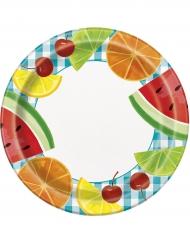 8 piatti in cartone frutta 23 cm