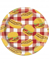 8 piattini in cartone Burger e Hot dog 18 cm