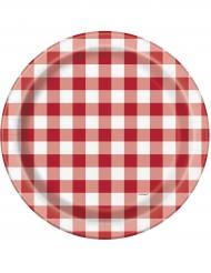 8 piatti a quadretti rossi e bianchi 23 cm