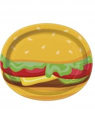 8 piatti ovali in cartone Burger 30 cm