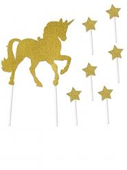 7 decorazioni per torta unicorno oro