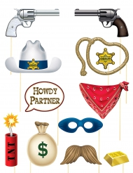 Kit photobooth 12 accessori Western