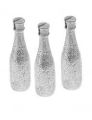 3 segnaposto bottiglie di champagne argentate