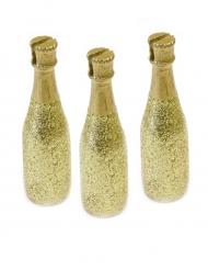 3 segnaposto bottiglie di champagne dorate
