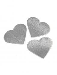 24 cuori effetto metallizzato argento