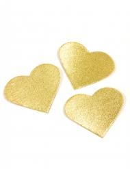 24 cuori dorati metallizzati