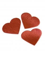 24 cuori in tessuto rosso effetto metallizzato