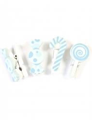 6 mollette decorative caramelle blu